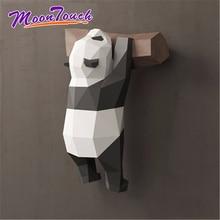 3D Geometrische Panda Decoratie Muur Creatieve Leuke Grappige Nationale Schat Papier Model Handgemaakte DIY Creatieve Thuis Cartoon