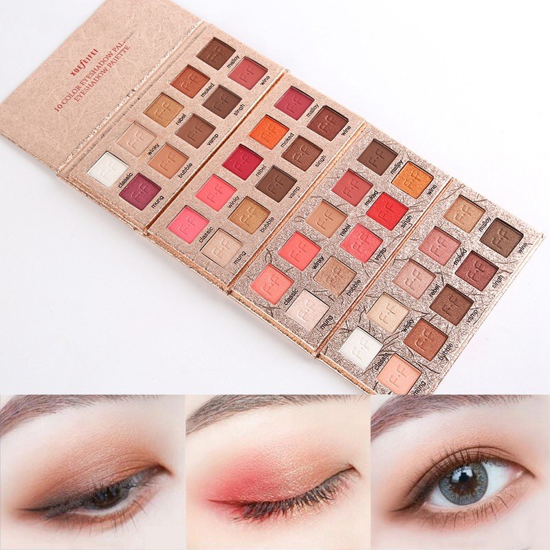 Hot Earth Color Eye Shadow Powder Waterproof Smudge-Proof Glitter Matte Eye Shadow Palette Easy To Wear 10 Colors