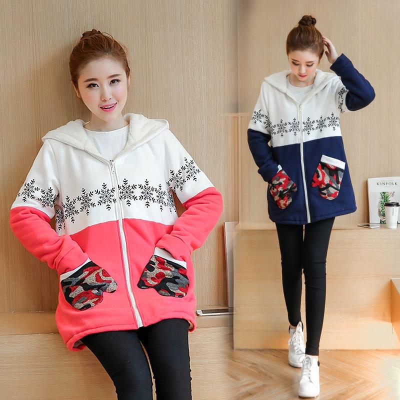 ФОТО Plus Velvet Autumn/winter Maternity Sweater Fleece Maternity Hoodies Pregnancy Fleece Jacket Outerwear Maternity Clothing B408