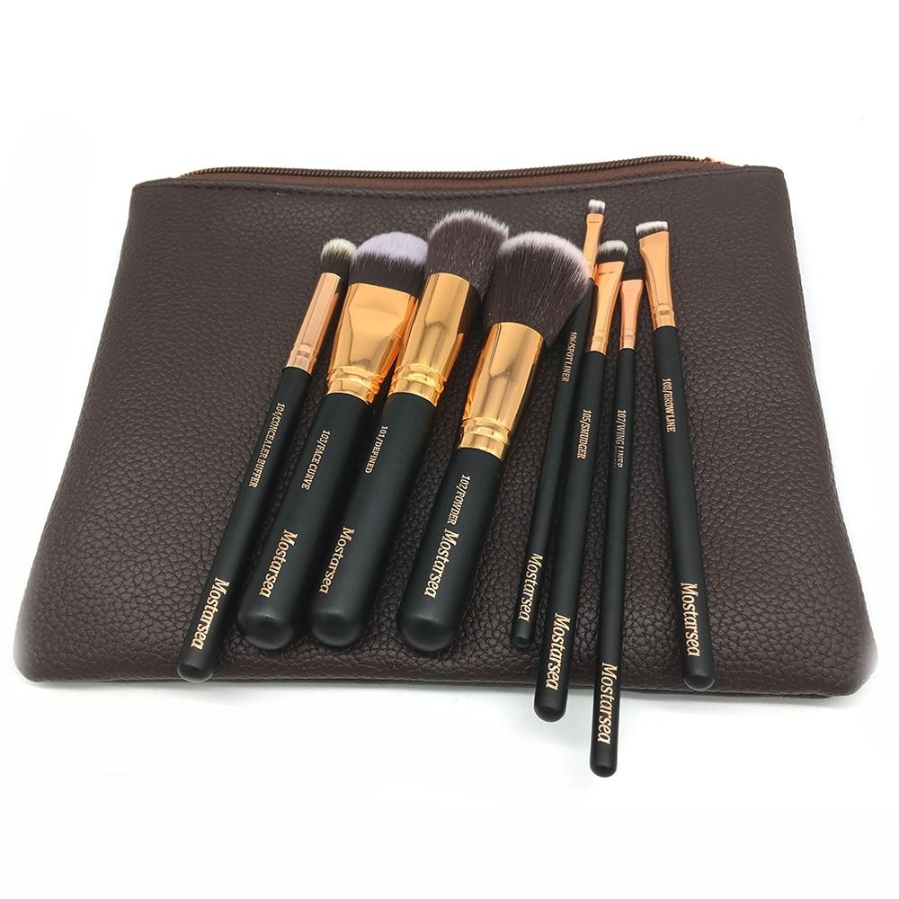 brand makeup mostarsea brushes set 8pcs/set pro soft fiber complete blending wooded handle with leather bag