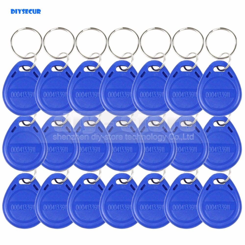 DIYSECUR 50pcs/lot Blue125Khz RFID Card Keyfobs For Access Control And Other RFID Reader Use Free Shipping asia blue card 100g