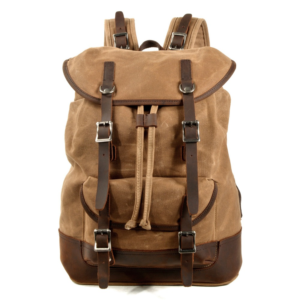 YUPINXUAN Dropshipping High Quality Canvas Leather Backpacks Europe Vintage Traveling Daypacks Big Capacity Strings Rucksacks