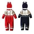 Camisola De Malha do bebê Romper 0-24 Meses Com Reindeear Chapéu de Algodão de Manga Longa Outono Inverno Infantil Menino Macio Macacão menina