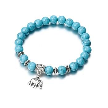 Hot Fashion Men's and Women's Bracelet Volcanic Stone Crown Elephant Sun Charm Bracelet Jewelry Suitable for Summer Beach Gift 3