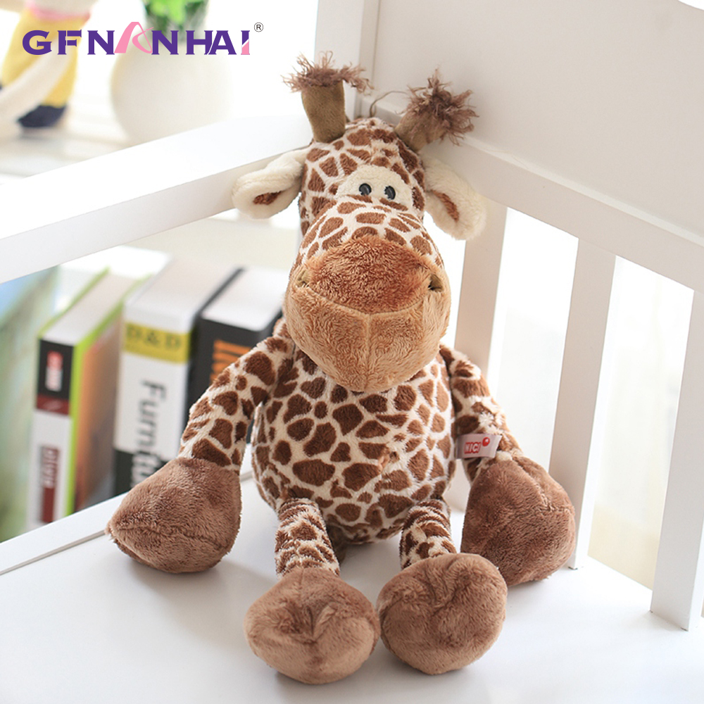 купить 1pc 25cm Cute Forest Animal Giraffe Plush toy Stuffed Soft Baby Finger Giraffe Dolls Lovely Toys for Children Birthday Gift по цене 280.83 рублей