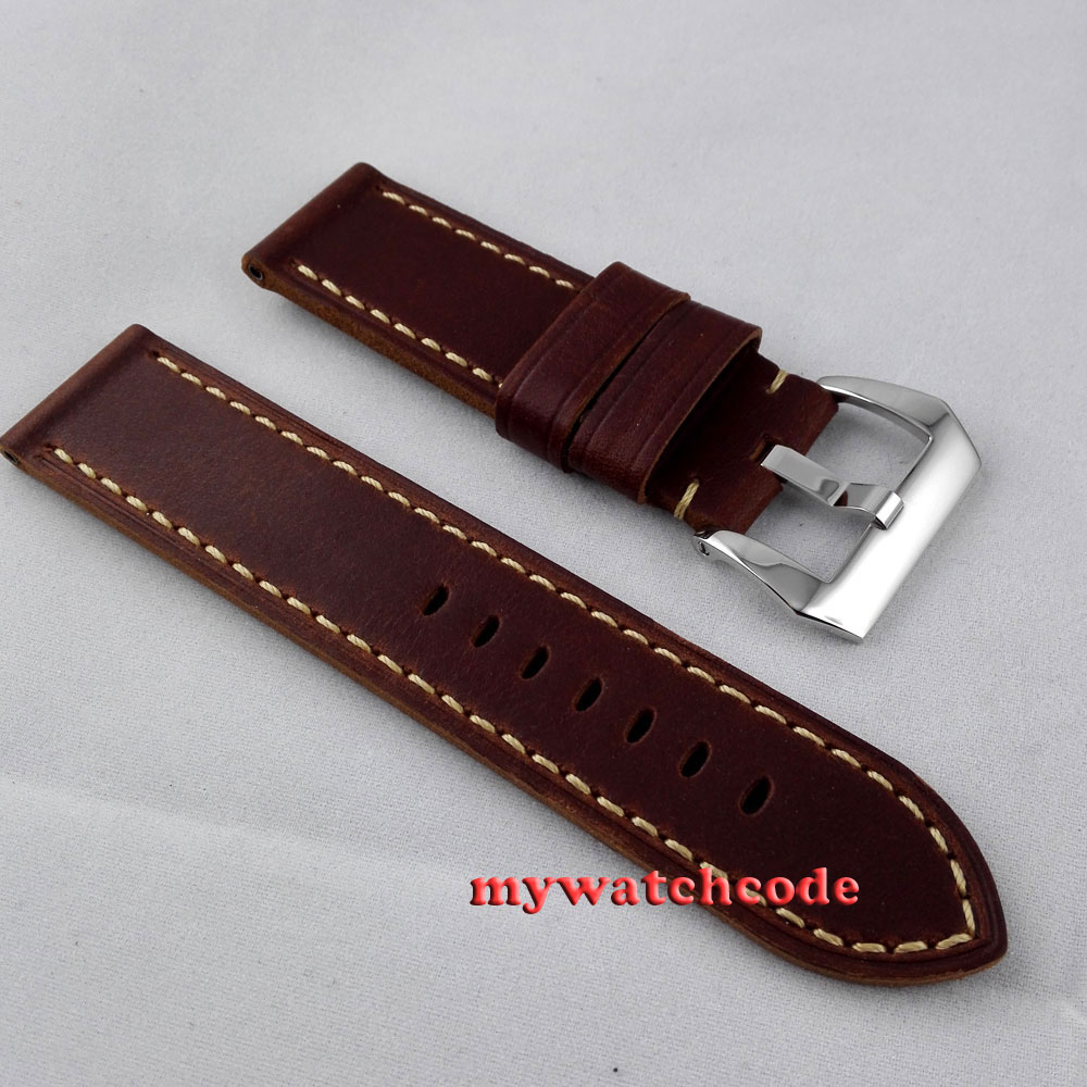24mm coffee heavy leather Genuine leather fit mens military parnis mens watch 20 vietnam veteran leather mens watch