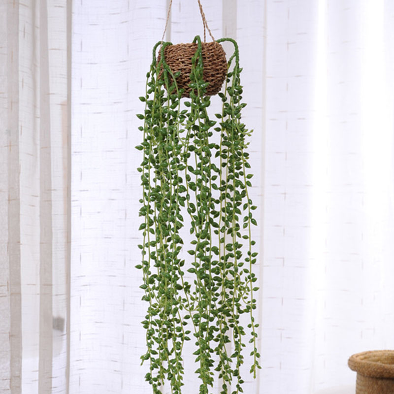 80cm Artificial Succulents Pearls Fleshy Green Vine Flowers Hanging Rattan Wall Simulation Flower Lover Tears Succulent Plants