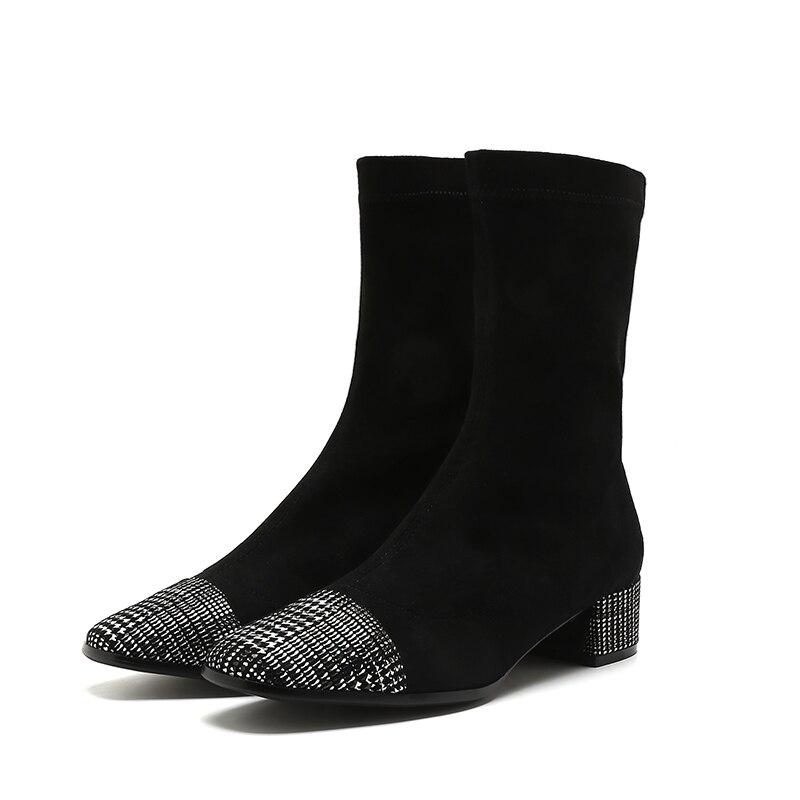 Femelle Véritable En Mycolen Botas Hiver Chaussures Mode Bloc Chelsea Cuir Souple Bottes Femmes Mujer Talons Caoutchouc Noir xqxPtwT5Cp