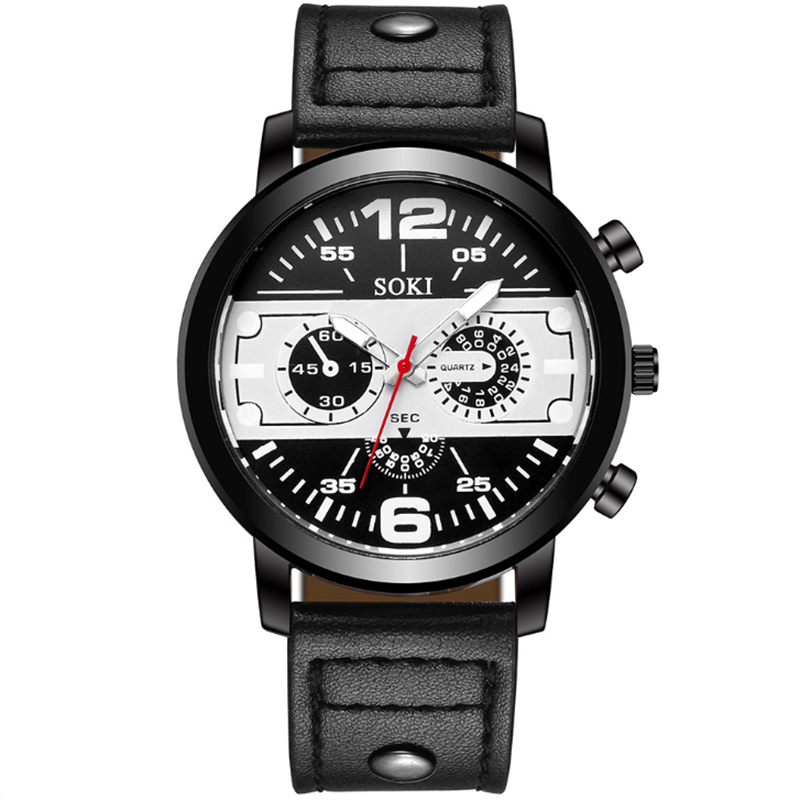 SOKI Chronograph Men Watch Relogio Masculino Leather Business Quartz Watches Clock Men Army Military Wrist Watches Relojes reloj in Quartz Watches from Watches
