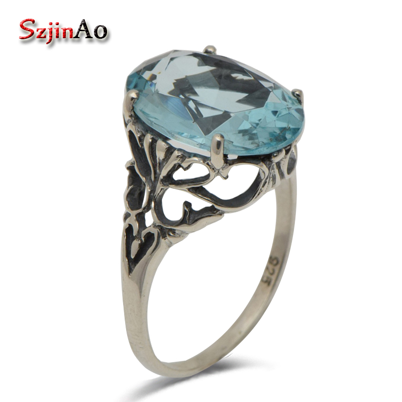 Szjinao Korea fashion personality ring hollow-out decorative pattern light Aquamarine retro 925 sterling silver ringSzjinao Korea fashion personality ring hollow-out decorative pattern light Aquamarine retro 925 sterling silver ring