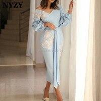 NYZY C146 Arabic Long Sleeve Tea Length Robe Soiree Dubai Blue Cocktail Dresses 2019 abiye gece elbisesi