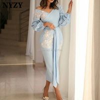NYZY C146 Arabic Long Sleeve Tea Length Robe Soiree Dubai Blue Cocktail Dresses 2019 abiye gece elbisesi