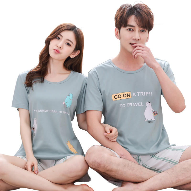Hot Sale Summer Cotton Coouple Cute Cartoon Pajamas Set Casual Comfortable Lovers Home Clothing