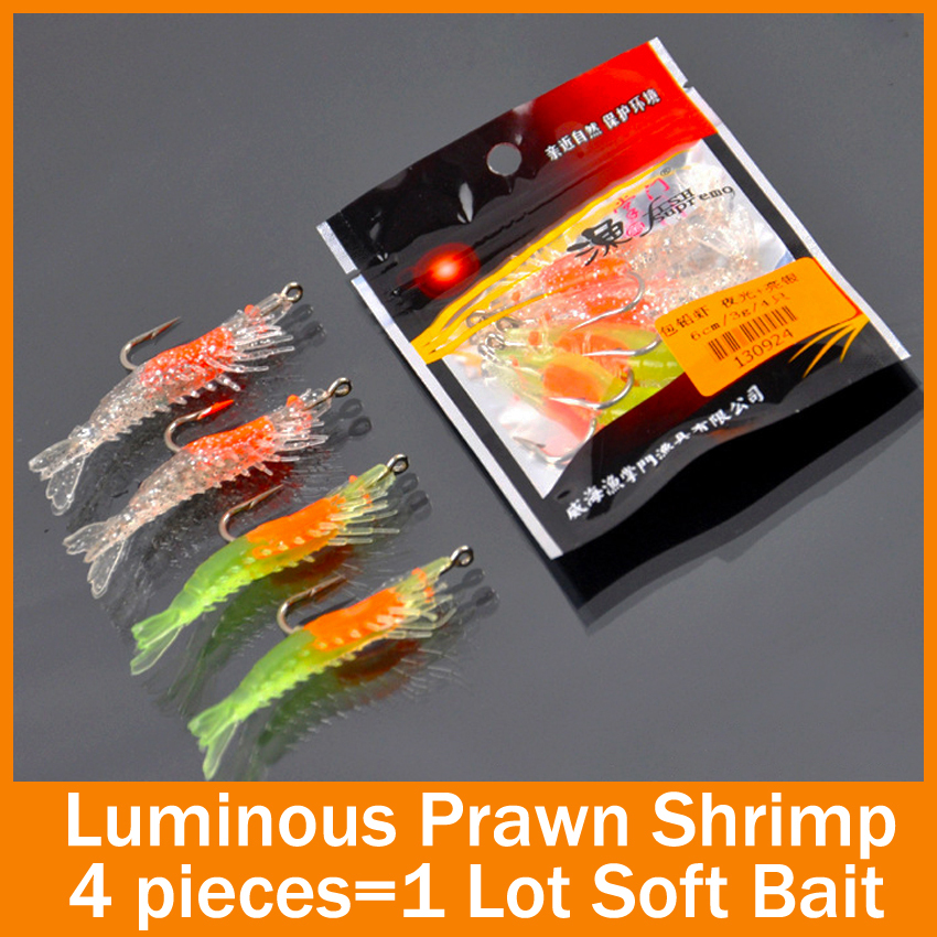 Fishing lure soft bait  4pcs/lot 70mm 3g Noctilucent Soft Silicone Prawn Shrimp luminous  Fishing Lure Hook Bait For Fishing