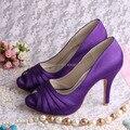Wedopus MW1491 Mulheres Cetim Roxo Salto Alto Sapatos de Noiva Peep Toe no Verão