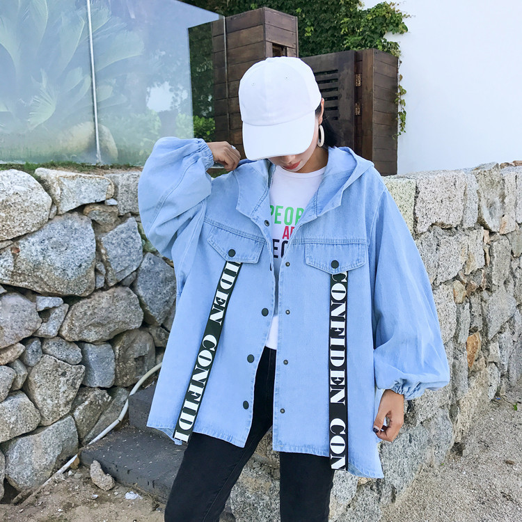 hooded denim women   trench   jeans coat for winter cotton fashion clothing oversize street wear loose