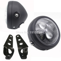 Black LED 6 1 2 Motorcycle Bike Parts Projector Headlight With Bracket For Bobber Chopper Cruiser