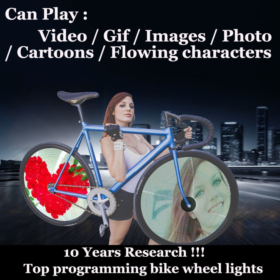 256 / 416 LED Programmable Bicycle Light Video Gif Picture DIY Bike Led Wheel Spoke Spoke Lights Waterproof Colorful Changing