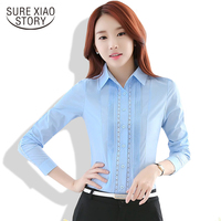 New Arrival Ladies Official Blouses Long Sleeved Lapel Solid Color Stripe Sweet Slim Shirts Plus Size