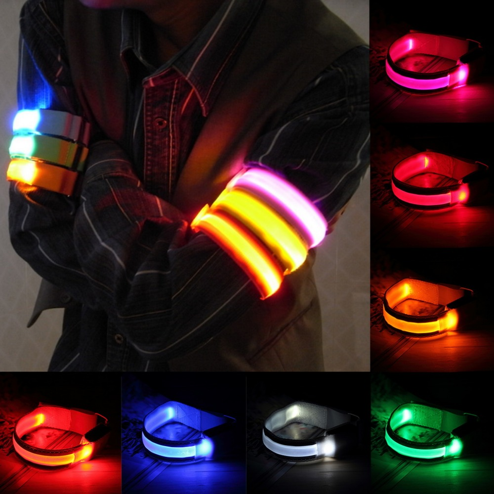 New Arm Warmer Belt Sepeda LED Armband LED Keselamatan Olahraga Reflektif Belt Strap Snap Bungkus Arm Band Armband