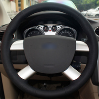 For Ford Kuga 2008 2011 Focus 2 2005 2011Black Leather Hand stitched Car Steering Wheel Cover