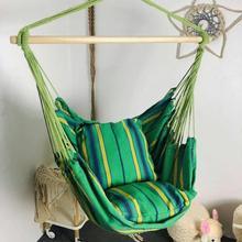 Outdoor Travel wiszące krzesło krzesło obrotowe siedzisko z 2 poduszkami ogród piesze wycieczki hamak kempingowy łóżko wiszące worek snu tanie tanio Striped Dorosłych Meble ogrodowe Hanging Chair Dwie osoby