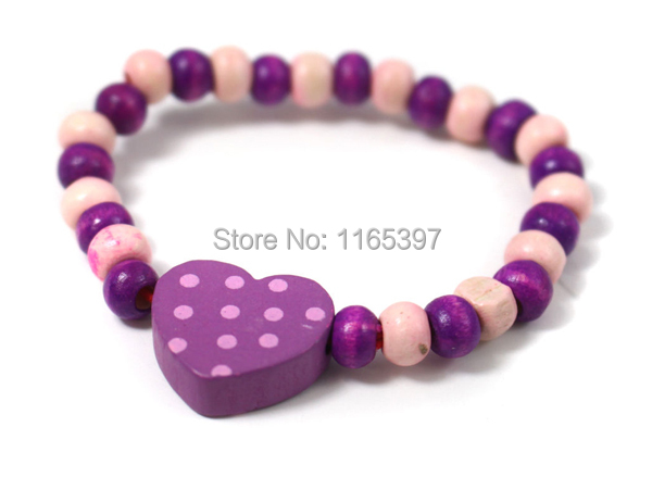 Free Ship Wholesale 48xCool New Charming Girls Wooden Bracelet Assort Shapes Colors Loot Pinata Party Bag Fillers Favor Gifts