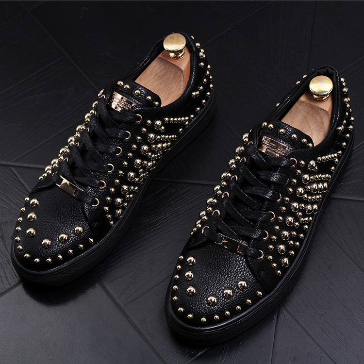 New Arrival Men Boat Shoes Fashion Round Toe Brush Color Slip On Loafer Shoes Night Club Man Black Rivets PU Leather Shoes