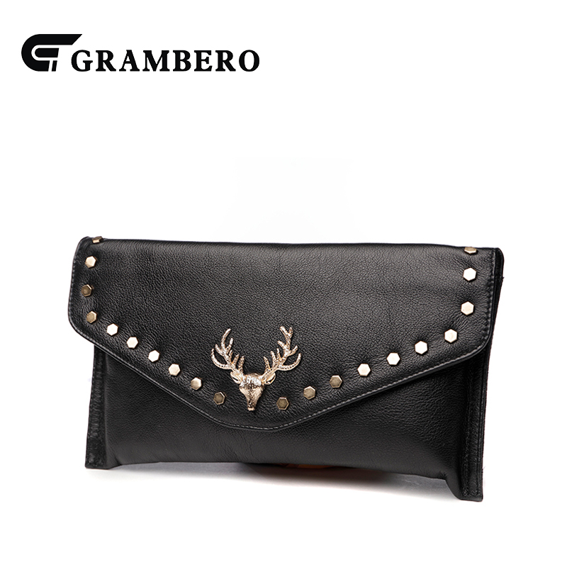 Fashion Soft Genuine Leather Clutch Wallet Solid Color Deer Decoration Top Leather Big Purse Women Banquet Envelope Shoulder Bag casual solid color top leather shoulder bag heart shaped decoration cover fashion women clutch wallet crossbody messenger bag