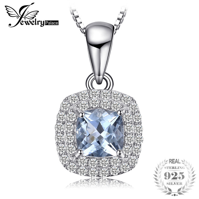 JewelryPalace Cushion Cut Natural Aquamarine Pendant 925 Sterling Silver Pendant