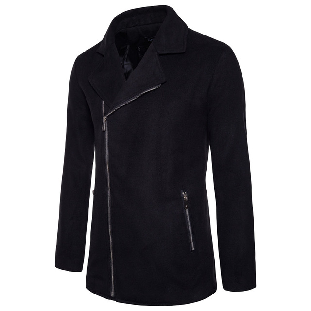 Laamei Brand Winter Autumn Turn Down Collar Zipper Pocket Jacket Solid Long Sleeve Coat Fashion Woolen Blends Jacket Coat
