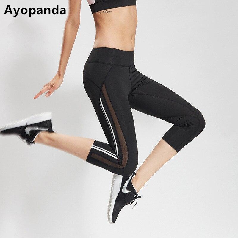 Ayopanda Hot Mesh Panel Running Pants Women White Strip High Quality Sports Capri Breathable Elastic Fitness Gym Legging