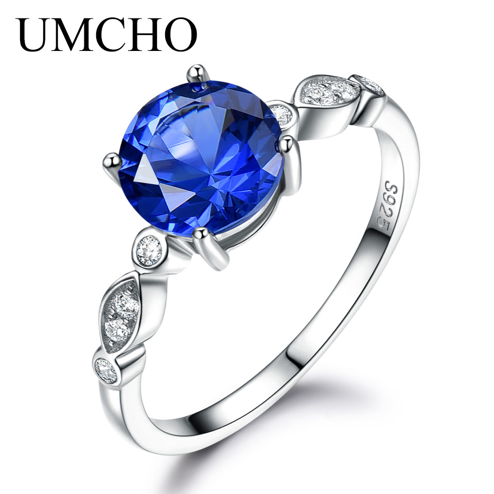 UMCHO Blue Sapphire Silver Ring Solid 925 Sterling Silver Rings For Women Wedding Band September Birthstone Blue Gemstone Gift