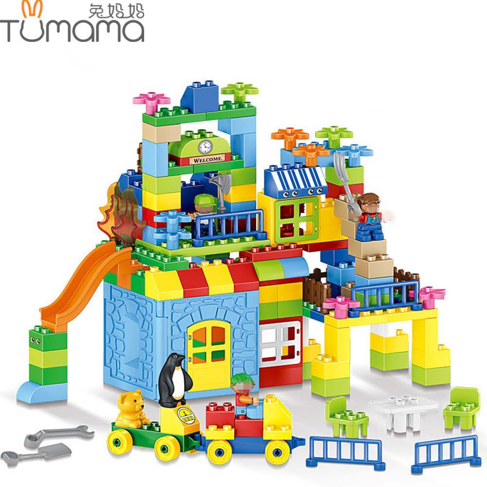Tumama 160pcs Train Building Blocks DIY Big Size House Number Creative City Bricks Amusement Park Model Educational Block Toys ...