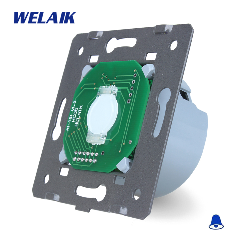 WELAIK  Glass Panel Switch White Wall Switch EU Door Bell Touch Switch DIY Parts Light Switch 1gang1way AC110~250V A911ML welaik crystal glass panel switch white wall switch eu remote control touch switch light switch 1gang2way ac110 250v a1914w b