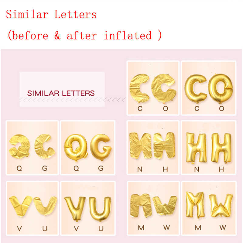 16 inch Letter Balloons Birthday Party Decorations Kids Foil Ballon Gold Silver Wedding Pink Blue Baby Shower Alphabet Globos