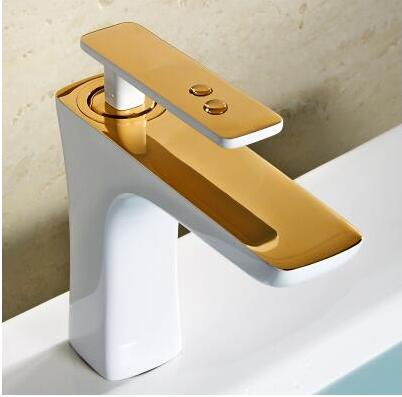 New arrival Luxury high quality gold and white finished cold and hot bathroom sink faucet basin faucet,water tap mixer new arrival total brass high quality unique design black finished hot and cold basin faucet sink faucet bathroom basin tap