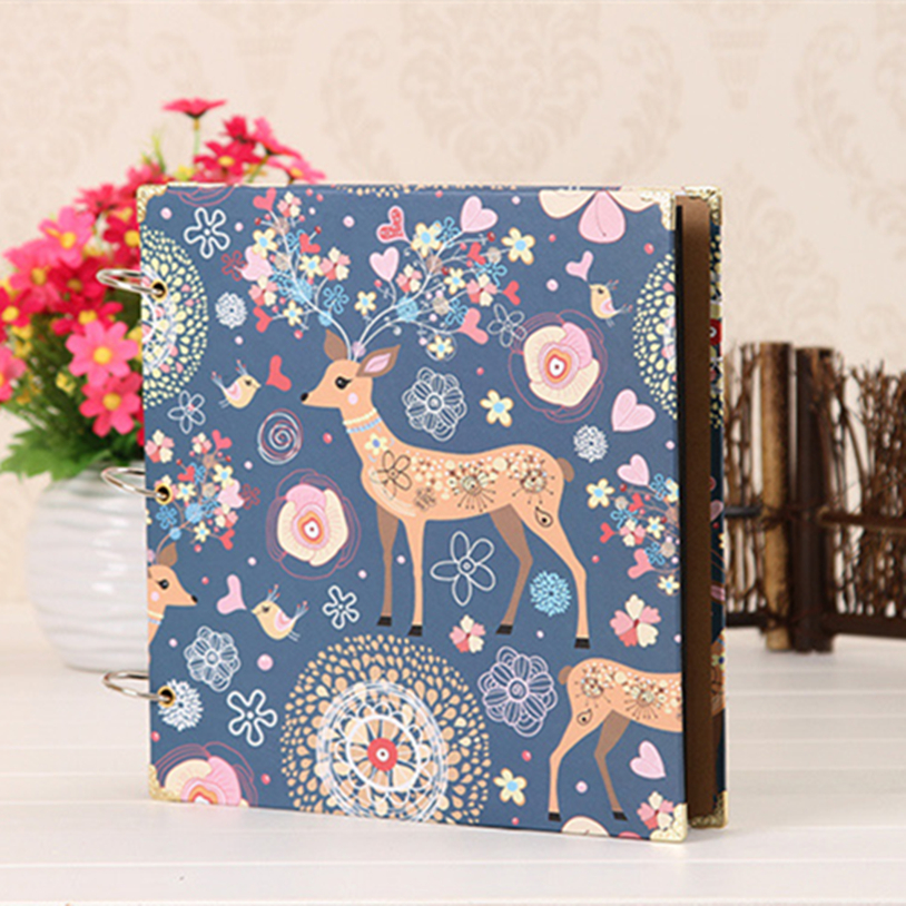 12 Inch 26x27cm Big DIY Photo Album /Notebook Black Paper Baby Growth Record Book Cute Printed Birthday Diary Photo Gallery Gift