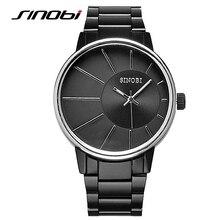 SINOBI Men font b Watches b font Popular Men Luxury Brand Black Stainless Steel font b