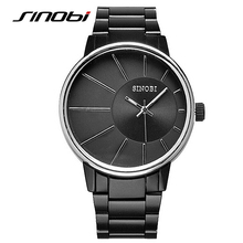 SINOBI Men Watches Popular Men Luxury Brand Black Stainless Steel Sports Casual Wrist Watch Quartz Watch Relogio Masculino F58
