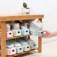 10 Pcs Creative Plastic Double-layer Shoes Storage Rack Adjustable Shoe Bracket Simple Household Shoes Support Home Organizer