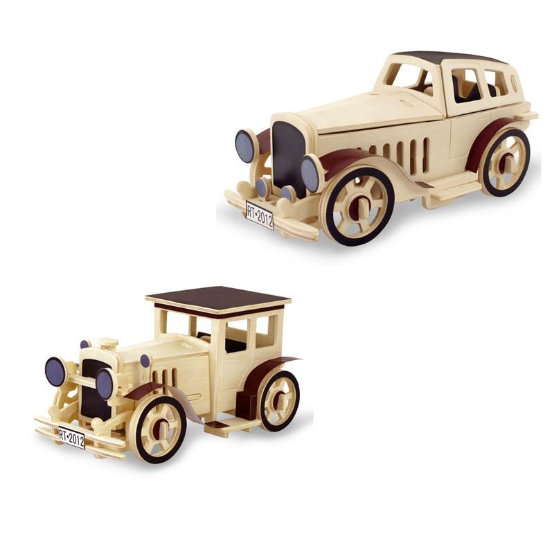 3D ξύλινο παζλ παιδιών DIY ξύλινα μοντέλα συναρμολόγησης αεροσκαφών Vintage αυτοκίνητα χειροποίητα παιχνίδια για δώρα παιδιών