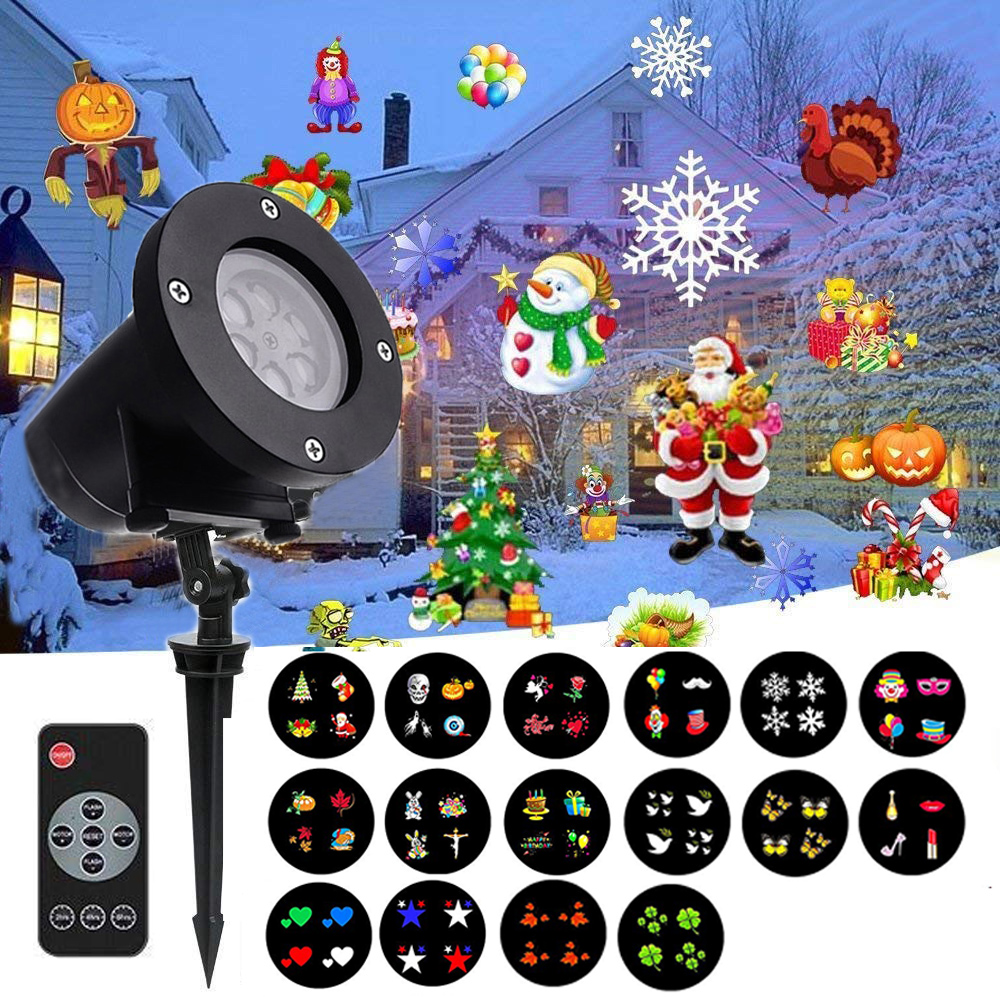 Thrisdar 16 Pattern Snowflakes Christmas Laser Projector Garden Landscape Lawn Projector Spotlight Outdoor DJ Disco Stage Light