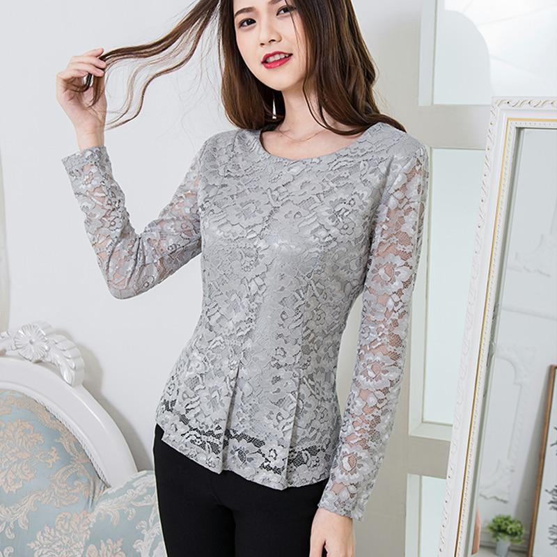 Fashion Hollow out lace   blouse     shirt   2019 Autumn winter long sleeve white   blouse   women top Elegant ruffle female   blouse   814i5