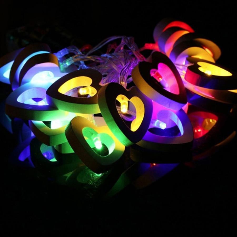 1M 10leds loominguline puidust süda LED stringid tuled jõulud - Puhkusevalgustus - Foto 2