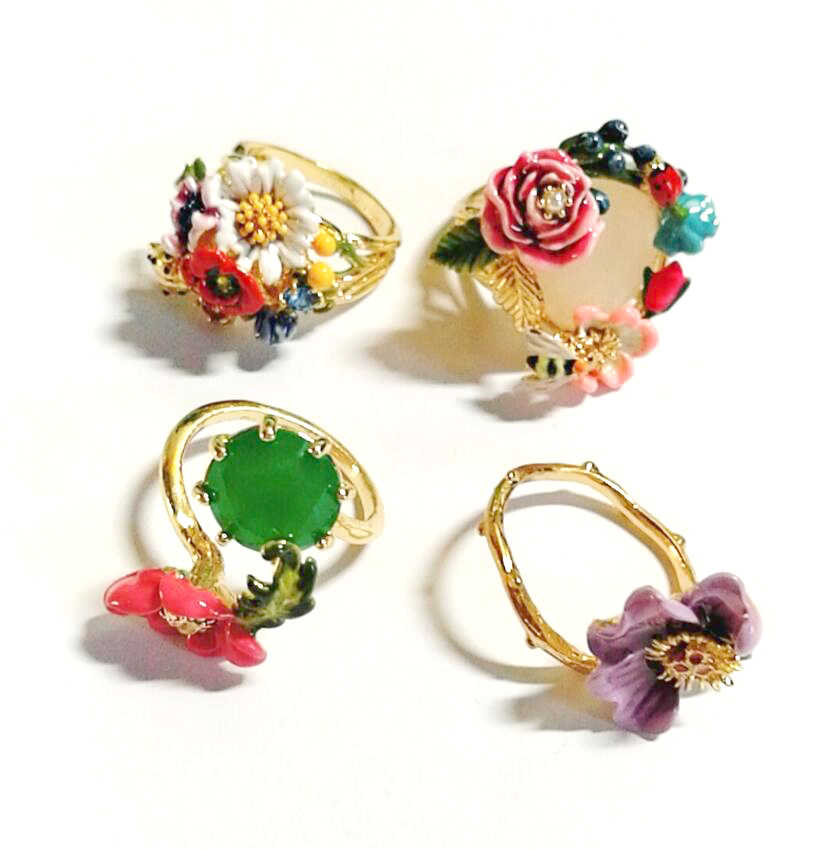 CSxjd Enamel glaze exquisite Pink flower  Ring Rabbit Ring Three piece