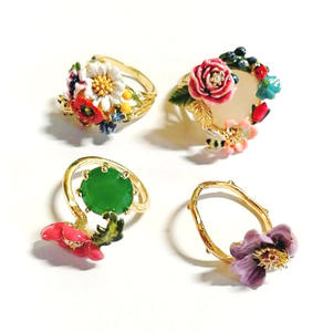 CSxjd Enamel glaze exquisite Pink flower Creative Ring Rabbit Ring Three piece