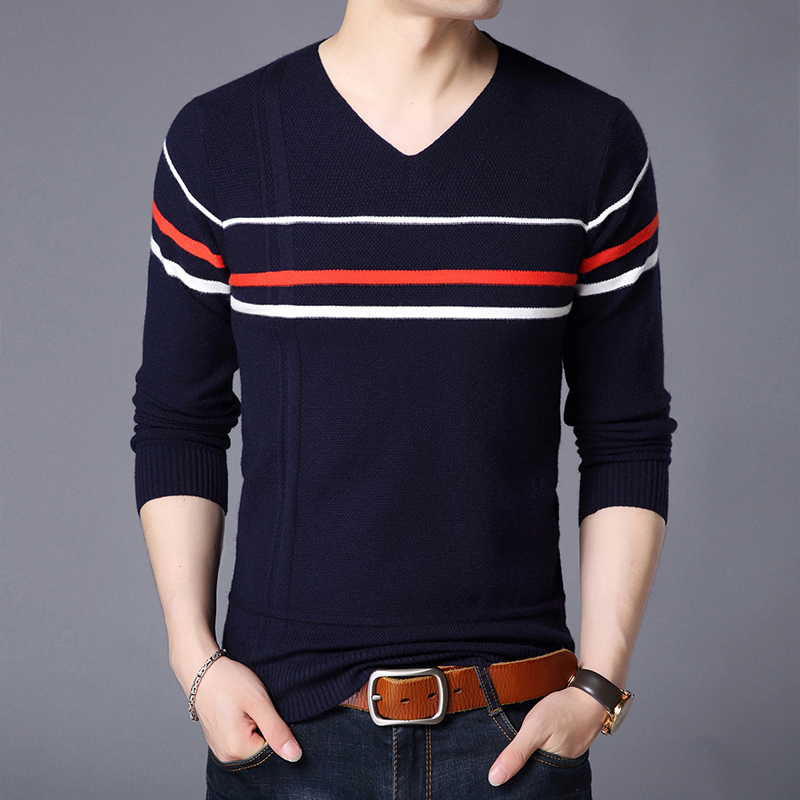 2019 New Fashion Brand Sweater For Mens Pullovers Slim Fit  Jumpers Knitwear Striped Autumn Korean Style Casual Clothing Male