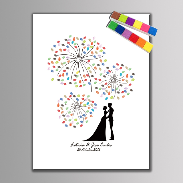 1 set Creative Wedding Decoration Personalized Wedding Guest Book Beautiful Fireworks Sweet Lovers Wedding Fingerprint Painting