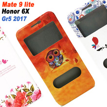 Huawei Honor 6X 6 x case cover 5.5 inch leather flip Window case for Huawei Gr5 2017 case cover Cartoon Huawei Mate 9 Lite Case